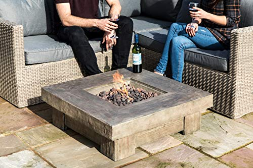 Peaktop Outdoor 35-Inch Square Retro Finish Propane Gas Fire Pit, Light Wood