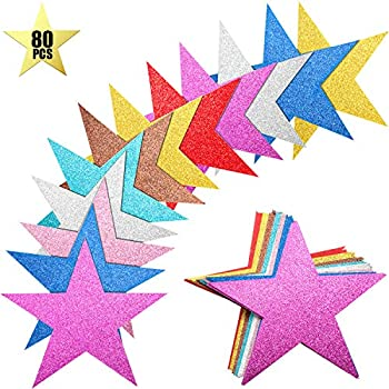 80 Pieces Glitter Star Cutouts Paper Star Confetti Cutouts for Bulletin Board Classroom Wall Party Decoration Supply 6 Inches Length  Rich Colors