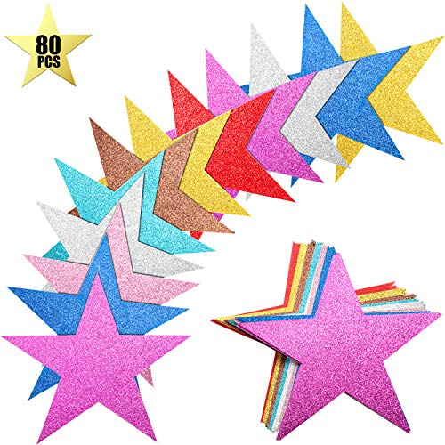 80 Pieces Glitter Star Cutouts Paper Star Confetti Cutouts for Bulletin Board Classroom Wall Party Decoration Supply, 6 Inches Length, 8 Colors