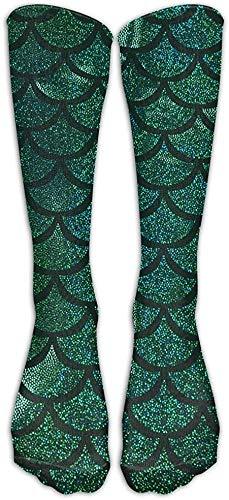 zhouyongz Green Sparkle - Calcetines largos unisex con diseño de sirena, talla 6 a 10