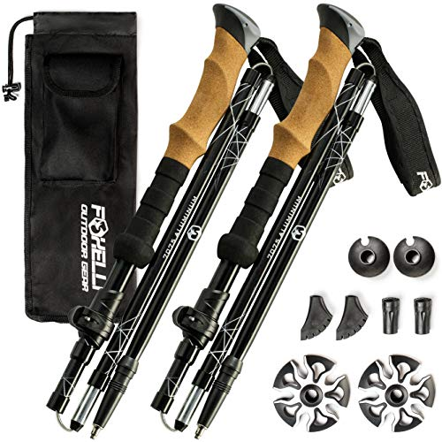Foxelli Folding Trekking Poles – Ultra Compact, Lightweight & Durable Aluminum 7075 Collapsible Hiking Poles with Natural Cork Grips, Quick Locks, 4 Season All Terrain Accessories & Carrying Bag