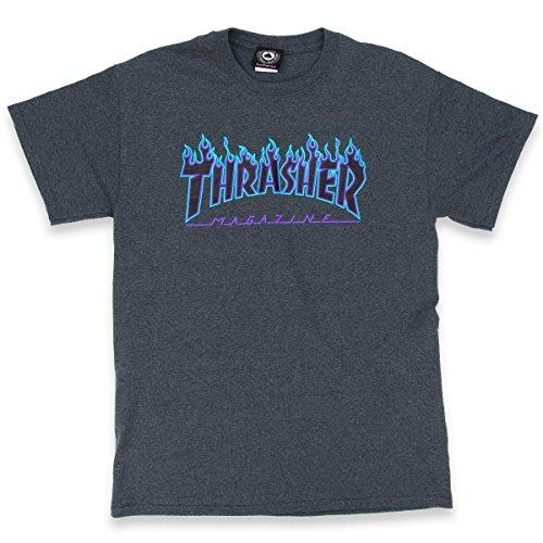 THRASHER Flame Camiseta, Unisex Adulto, Dark Heather, L