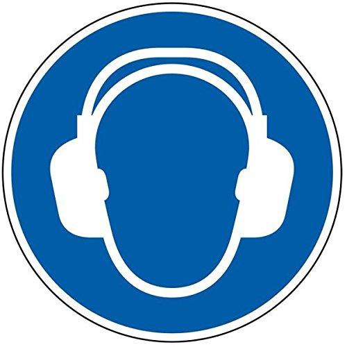 LEMAX® Gebotsschild Gehörschutz benutzen,ASR/ISO,Folie,selbstklebend,Ø 50mm,10/Bogen