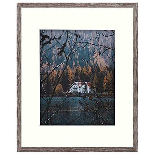 Frametory, Smooth Wood Grain Finish Frame with Ivory Mat for Photo - includes Sawtooth Hangers and Real Glass - Landscape/Portrait, Wall Display (Grey, 16x20 Frame for 11x14 Photo)