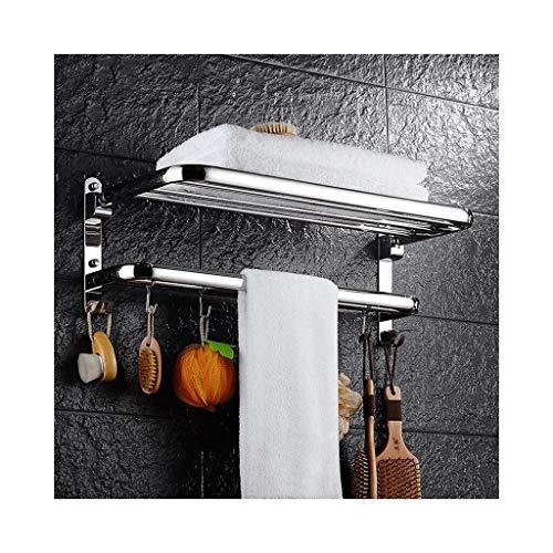 DNSJB - Estante de cristal para baño de 2 etapas, hecho de acero inoxidable con toallero, cepillado y acero inoxidable