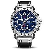 Relojes Hombre Relojes de Pulsera Marea Cronometro Impermeable Fecha Calendario Analogicos Cuarzo Relojes de Hombre (Azul)