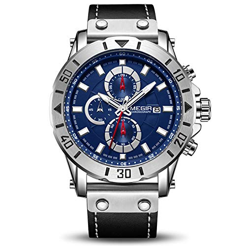 MEGIR Men's Analog Business Quartz Chronograph Luminous Watch with Stylish Black Leather Strap Blue Face for Sports (2081 Blue)
