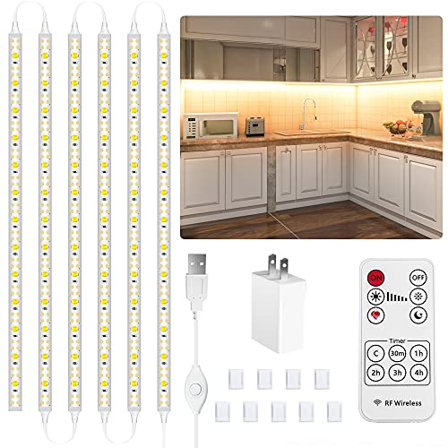 LAFULIT 6 PCS Under Cabinet Lighting Kit, DIY Lights for Anywhere, Flexible Led Strip Lights with RF Remote and UL Listed Power Adapter, for Kitchen Cabinets Shelf Counter, 2700K Warm White,9.8ft,USB