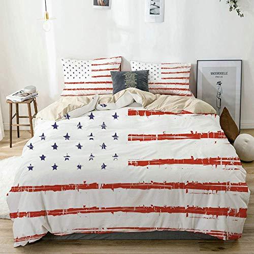 Bettbezug Set Beige, American Vector Grunge Texture Print, dekoratives 3-teiliges Bettwäscheset mit 2 Kissenbezügen Pflegeleicht Antiallergisch Weich Glatt