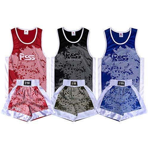 Prime Leather New Sublimation Design Kids Boxanzug (Top & Short) Alter 3–14 Muay Thai Kick, MMA Training 908, Kinder, 908, 908 Blue, 5-6 Jahre