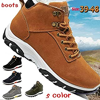 Top Fashion Men Winter Boots Fashion Hiking Waterproof Hiking Shoes Genuine Leather Outdoor Sneakers for Men(Brown,42)