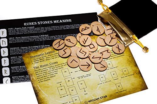 25 de madera runas piedra bolsa Set con diseño y significado pergamin