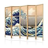 murando - Biombo XXL Kanagawa 225x171 cm - 5 Paneles - Lienzo de Tejido no Tejido Tela sintética Separador Madera Design de Moda Hecho a Mano Deco Japón p-B-0025-z-c