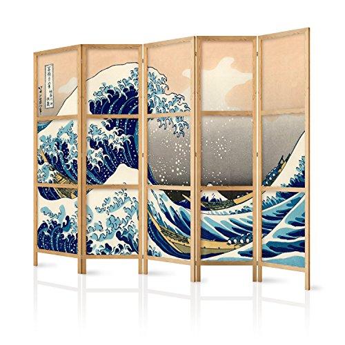 murando - Paravent XXL die große Welle vor Kanagawa 225x171 cm 5-teilig einseitig eleganter Sichtschutz Raumteiler Trennwand Raumtrenner Holz Design Motiv Deko Home Office Japan p-B-0025-z-c