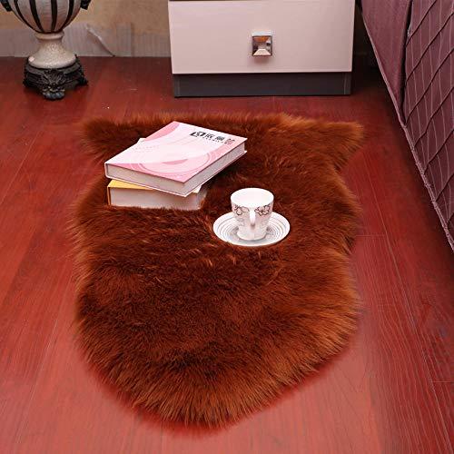 GYhxl Natürliches künstliches Schaffell Dunkelbrauner Teppich Anti-Rutsch-Weichstoff-Fußmatten Teppich Esszimmer Schlafzimmer Wohnkultur 60x90cm
