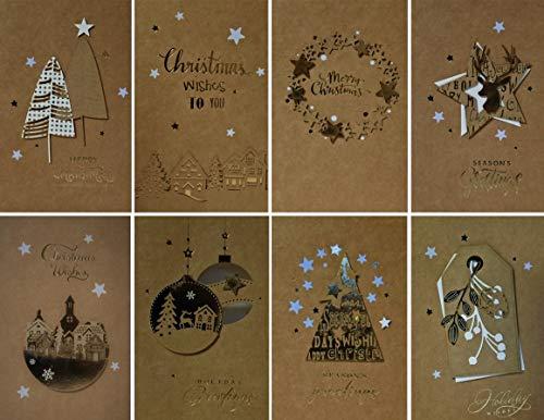 クリスマスカードセット(8枚組、2つ折り、中紙・封筒付き) Christmas card set XCS-583