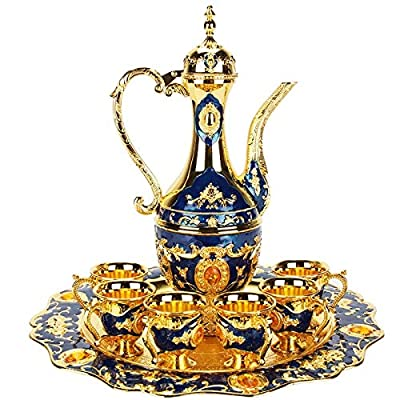 Thyggzjbs Vintage Turkish Coffee Pot Set for 6 including Tray & Teapot Silver Inset with Crystal Stones(Blue)