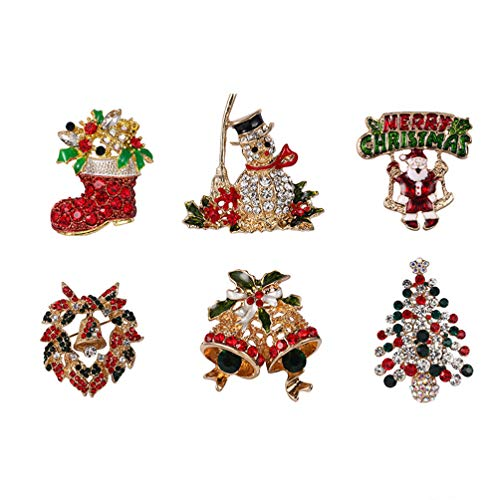 Toyvian 6pcs Christmas Crystal Brooch Pin Set for Woman Girl Gifts, Including- Santa Claus, Christmas Tree, Bell, Socks and Snowman