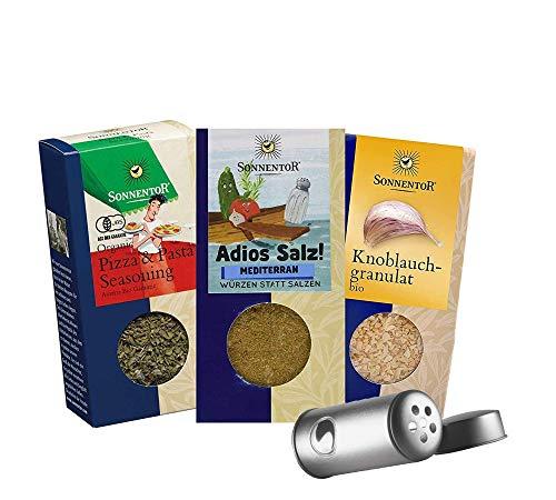 Sonnentor 100% bio: mediterranes Gewürzset: Adios Salz Mediterrane + Pizza- und Pastagewürz + Knoblauch Granulat BIO-AT-301