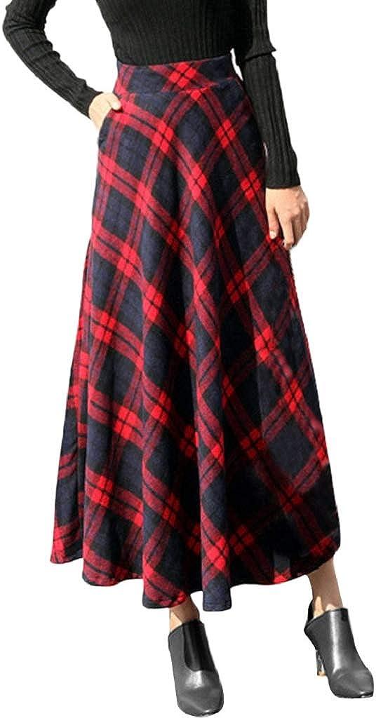 Womens Elastic High Waist A-Line Maxi Skirt Plaid Winter Warm Flared Long Skirt