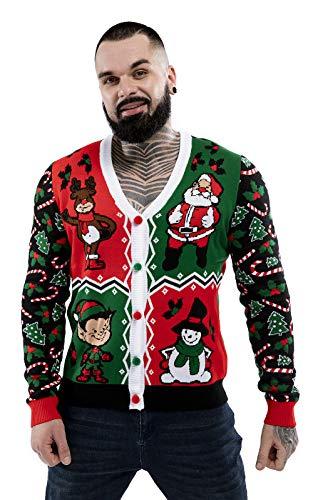U LOOK UGLY TODAY Suéter de Navidad feo para hombre, divertido Papá Noel, reno, elfo de Navidad