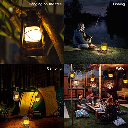 LED Vintage Lantern, Realistic Flicker Flame Outdoor Hanging Lantern Battery Operated Camping Night Lights with Remote Landscape Decorative for Garden Patio Deck Yard Path 2 Pack (Copper)