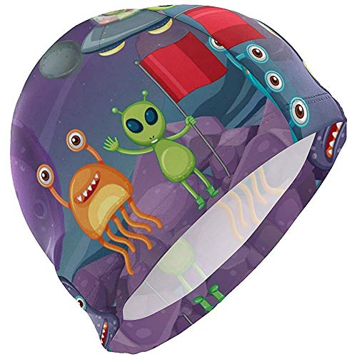 Gorros natación Aliens OVNI Planeta Gorro baño Sombrero