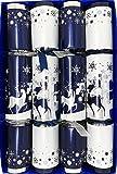 Crackers Ltd - Caja de 4 unidades, diseño de renos de Navidad azul y plateado con diseño de bosque nevado a medianoche