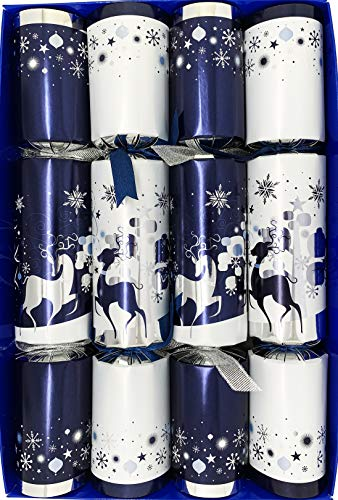 Crackers Ltd Set of 4 Snowy Forest at Midnight – Blue and Silver Reindeer Glass Figurines Christmas Crackers