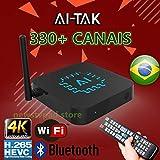 HTV Box PK AI TAK PRO 4K Ultra HD grátis para Sempre Edition TEM mais de 300 canais de TV, 100 canais adultos 30mil filmes 20mil série UHD e Bluetooth, Android 6.0 e muitos canais de entretenimento
