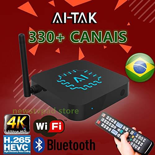 AI TAK PRO 4K Ultra HD grátis para Sempre Edition TEM mais de 300 canais de TV, 100 canais adultos 30mil filmes 20mil série UHD e Bluetooth, Android 6.0 e muitos canais de entretenimento