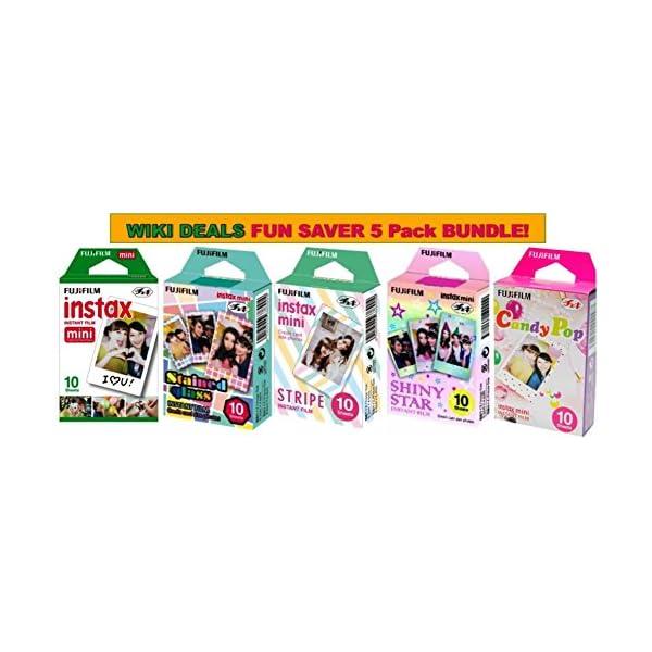 Fujifilm Instax Mini Instant Film Bundle, Candy Pop, Stained Glass, Stripe, Shiny...