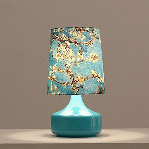 Moderne Lampe en verre Art Peinture à l'huile méditerranéenne Lampe de bureau la mode élégante lampe de chevet Chambre lampe de table fleurs éternelle, grande 42 cm; 23 cm E27 (non inclus)