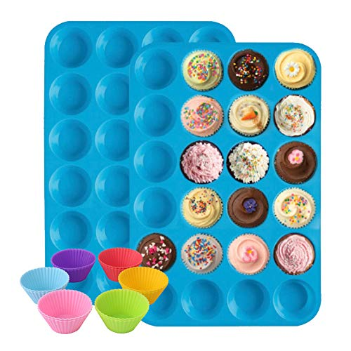 FJYDM Moule À Muffins en Silicone Et Moule À Cupcake Ensemble De Plateaux Et Moules De Cuisine À La Maison avec 12 Moules À Pâtisserie en Silicone Moule De Cuisson Antiadhésif(2 Pcs)