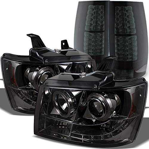 Xtune for 2007-2014 Chevy Suburban/Tahoe Smoked Halo Projector Headlights + Black Smoked LED Tail Lights 2008 2009 2010 2011