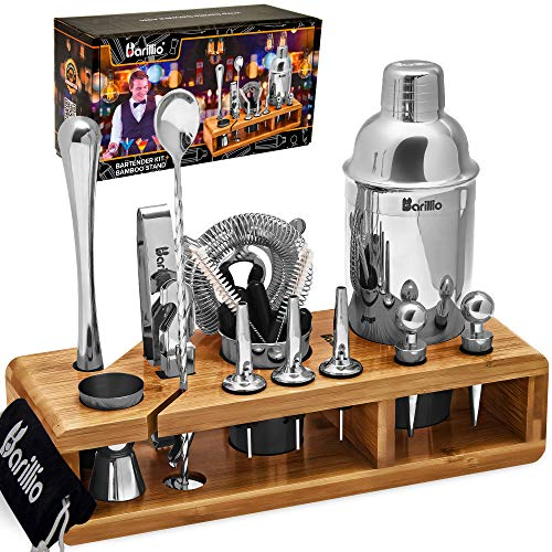 Elite 23-Piece Bartender Kit Cocktail Shaker Set by BARILLIO: Stainless Steel Bar Tools With Sleek Bamboo Stand, Velvet Carry Bag & Recipes Booklet |...
