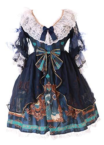 JSK-46 Blau Gemälde Spitze Schleifen Barock Kleid Lolita Cosplay Kostüm Kawaii