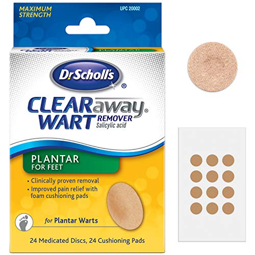 Dr. Scholl's Clear Away Plantar Wart Remover for Feet, 24 Medicated Discs & 24 Cushioning Pads // Maximum Strength Without A Prescription