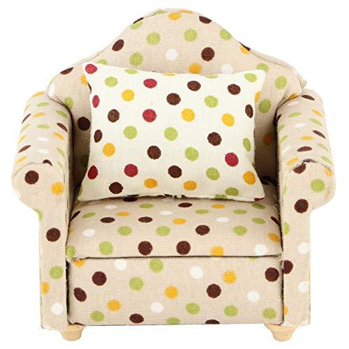 YOUTHINK Sofá de casa de muñecas a Escala 1/12, sillón de sofá Individual en Miniatura con Almohada para muñecas 1:12, Accesorios de casa de muñecas DIY(Blanco)
