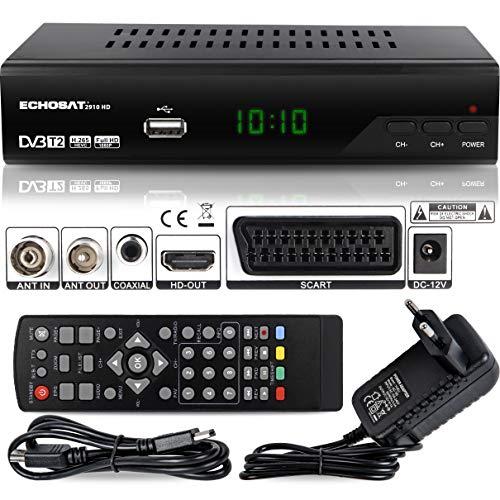 Echosat 2910 S - Receptor Digital DVB-T/T2 (Full HD, 1920 x 1080, HDMI, MPEG-4, AVC, MPEG-2 MP, 1080i, 1080P Standart, euroconector, fácil instalación, HEVC, H.264, H.265, TNT)