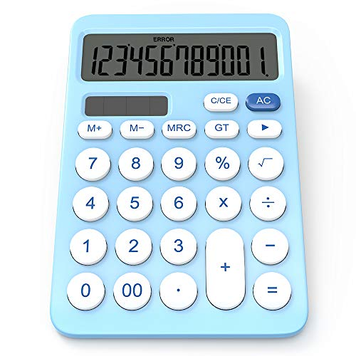 Calculadora GUYUCOM, Calculadora Grande de 12 dígitos con Pantalla LCD, Botón Sensible, Calculadora Financiera Solar y de Batería de Doble Potencia (Azul).