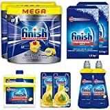 Finish Quantum MAX Lemon SET - Medium Kit - Kit de limpieza de lavavajillas - Incluye: pastillas para lavavajillas, sal, abrillantador, limpiador para lavavajillas, desodorante para lavavajillas