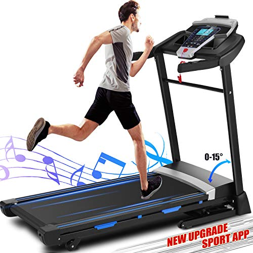 ANCHEER Treadmill, Folding Treadmill for Home with Automatic Incline, Bluetooth Speaker and LCD Display,3.25Hp Electric Fitness Treadmill Machine for Running Walking,300 LBS Max Weight, Easy Assembly