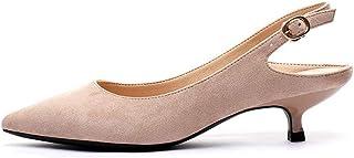 [WOOYOO] 走れるパンプス インヒール バックストラップ ポインテッドトゥ ママシューズ リクルート 冠婚葬祭 ビジネス 出張 プレゼント クッション性 フィット 履き心地良い 大きいサイズ キレイ 美脚 快適