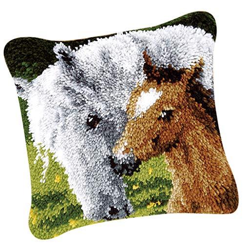 FLAMEER 1 Set Knüpfkissen-Kits Deko-Kissenbezug selber Kissen Knüpfen für Kinder und Erwachsene- Tier Muster - Pferd