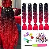 Kanekalon Red Braiding Hair 5Pcs/Lot Synthetic Ombre Jumbo Braids Hair 3 Tone Braids Hair for Twist Braiding Hair Extensions(Black-Wine Red-Red)