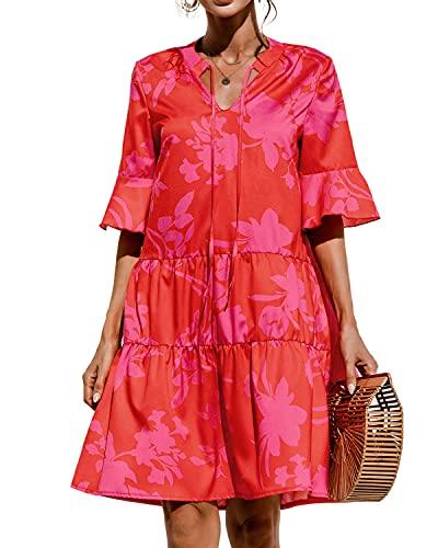 datasy Kleid Damen Sexy Winterkleid Strickkleider Kleider für Damen Mädchen MiniKleid Langarm Kurzarm Elegant Knielang V-Ausschnitt Rot L