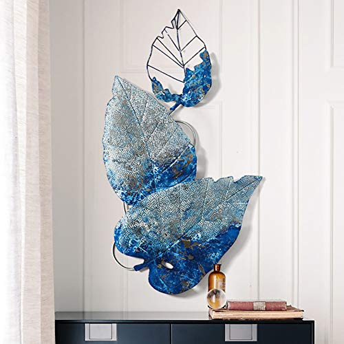 WLHER Metal Wall Art Decoration, Naturally Bionic Sculpture, 3D Stereo Blue Abstract Maple Leaf Shape, Free to Hang, Indoor and Garden Decoration, 99 55CM