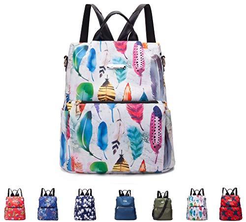 ELR Stylischer Mini-Rucksack, wasserabweisend, Blumenmuster, lässiger Tagesrucksack für Damen/Mädchen/Reisen/Business Farbige Federn 12.2x5.51x13.78inch/31x14x35cm