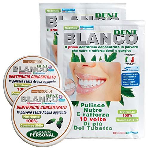 Blancodent Dentifricio Senza Fluoro in Polvere e Collutorio Naturale Dentifricio Sbiancante Professionale e Alcalinizzante per Denti Bianchi e Gengive Sane 2 Kit
